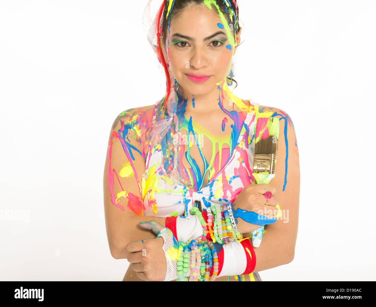 High Quality Girl With Paintbrush Covered In Paint. When DIY Goes Wrong!