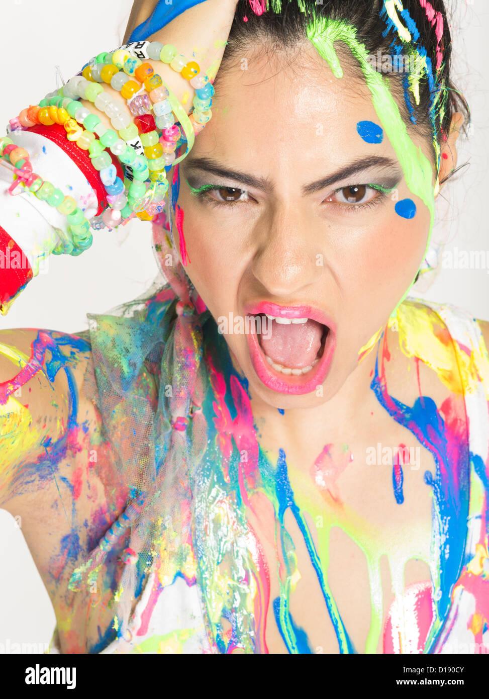 Neon Paint Party Dancer  / Clubber  / Raver - Stock Image