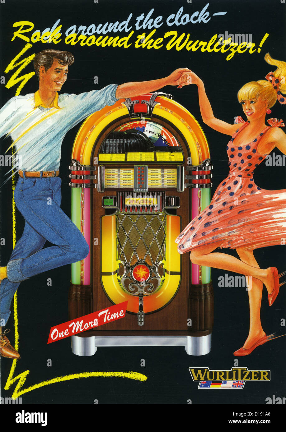 WURLITZER JUKEBOX advert showing a model 1015 Stock Photo