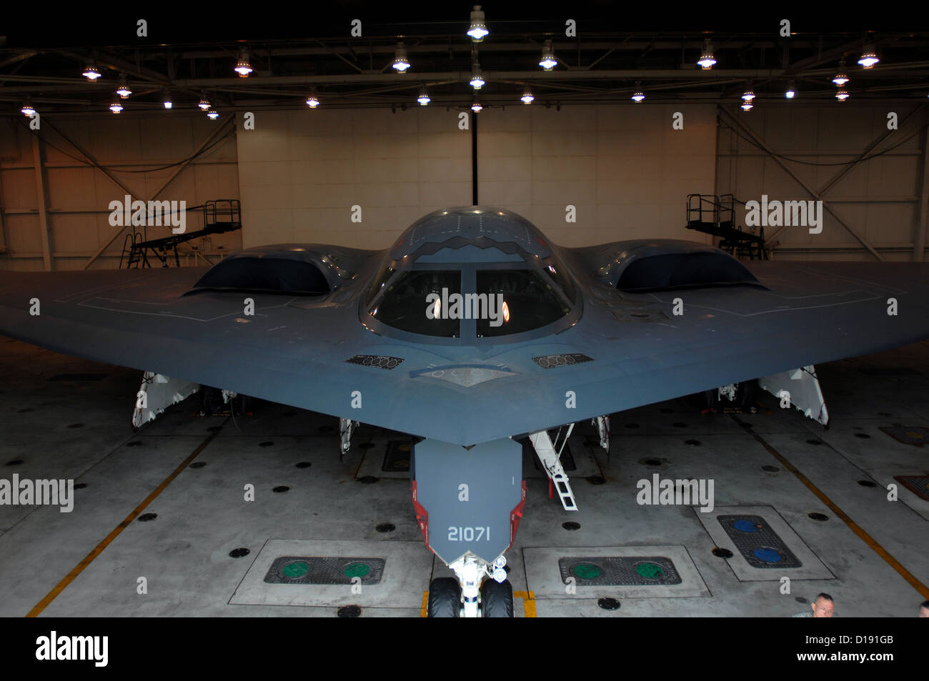 A B-2 Spirit stealth bomber in the maintenance hanger at Whiteman Air Force Base October 30, 2009 in Knob Noster, - Stock Image