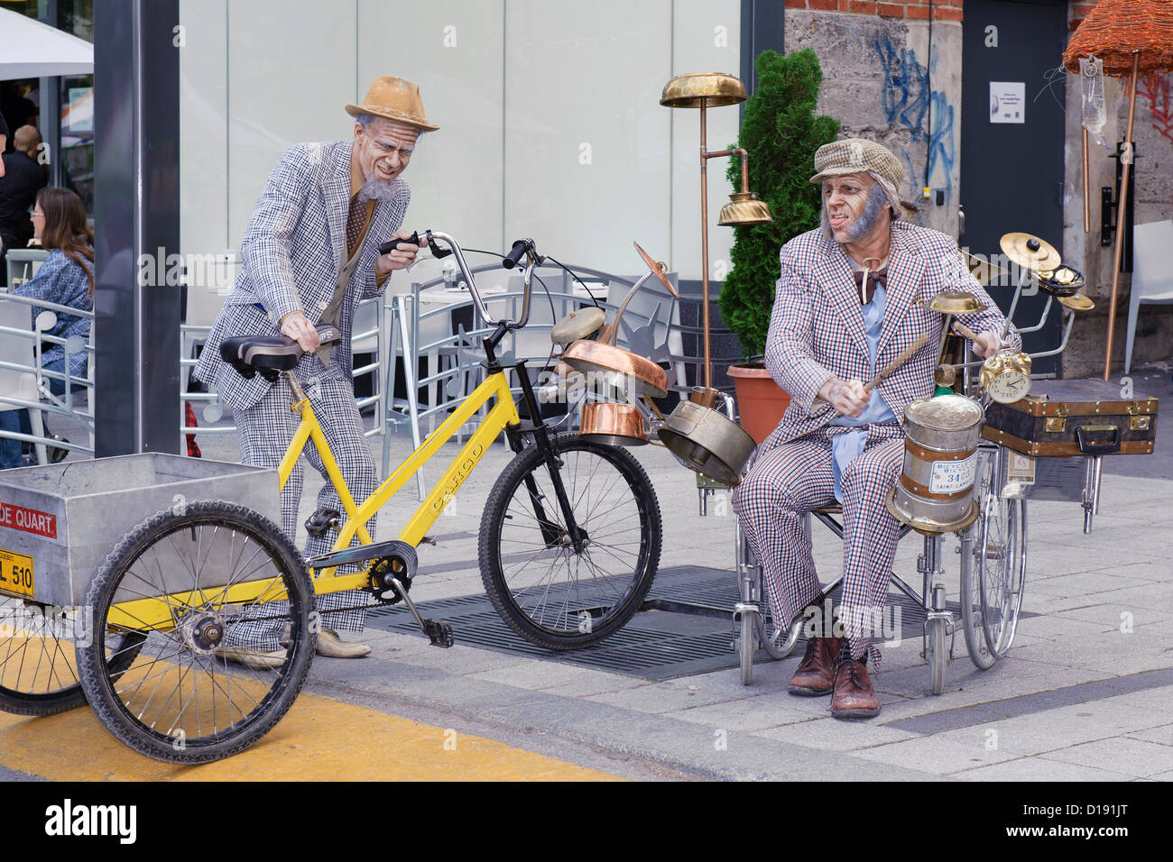 Comedians made up as a very old men during the Just for Laughs Festival in Montreal, province of Quebec, Canada. - Stock Image