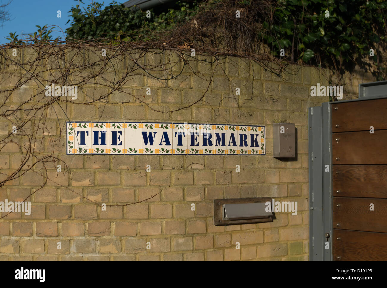 entrance with tiled name sign of the watermark, an architecturally innovative house of 1999, twickenham, middlesex, - Stock Image