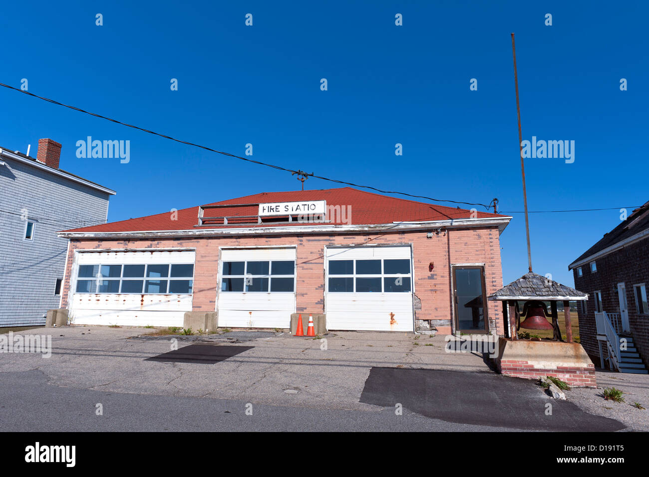 Abandoned fire station in Moody Beach, Maine, USA. - Stock Image
