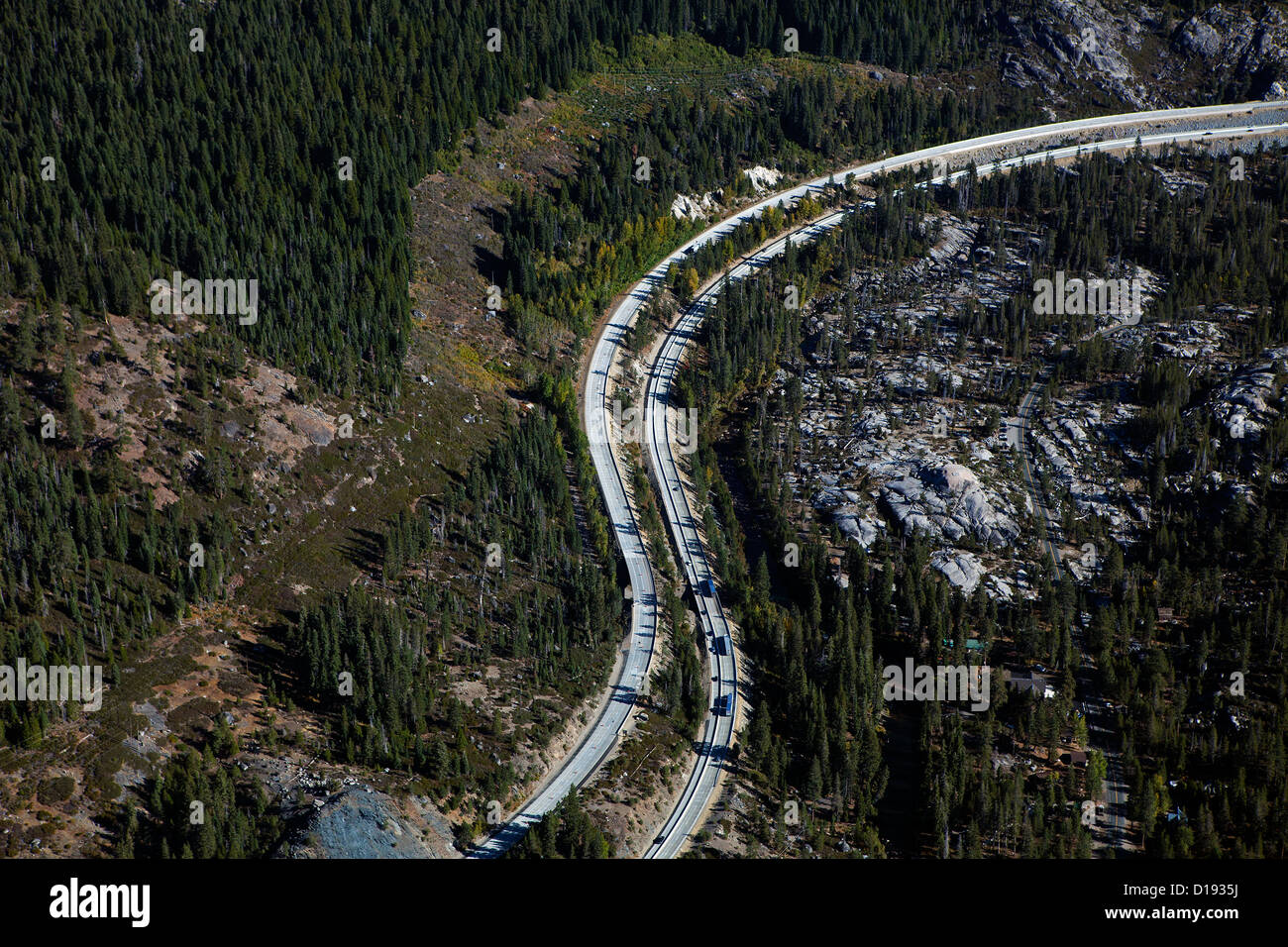 aerial photograph interstate I-80 Sierra mountains California - Stock Image