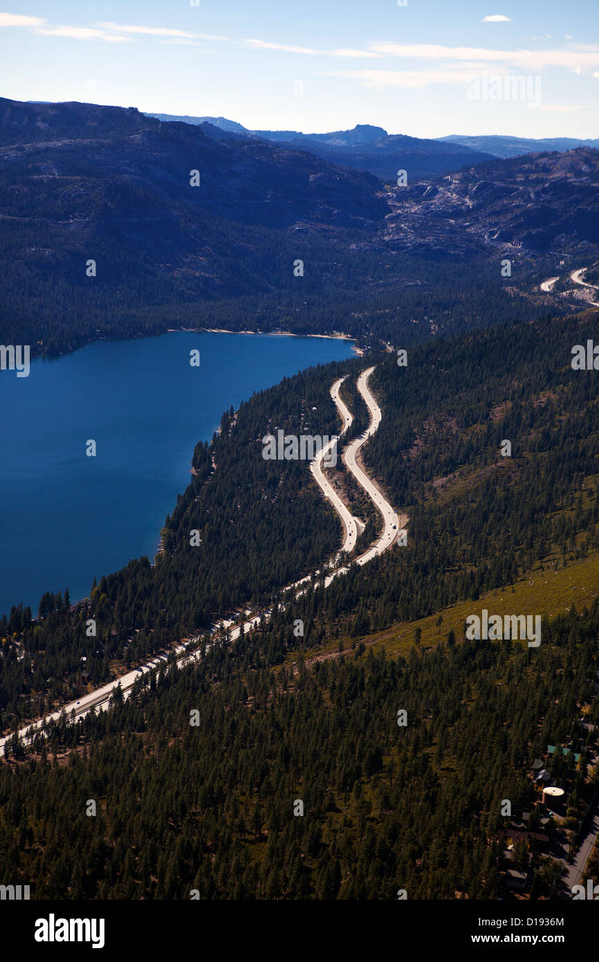 aerial photograph interstate I-80 Sierra mountains Donner Lake Truckee California - Stock Image