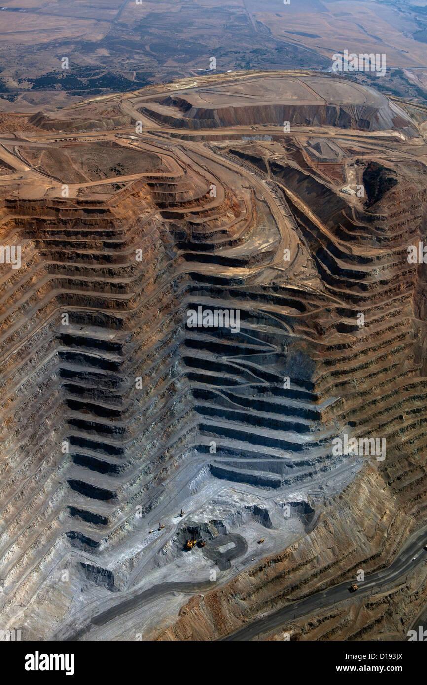 aerial photograph Bingham Canyon Open Pit Copper Mine, Utah Stock Photo