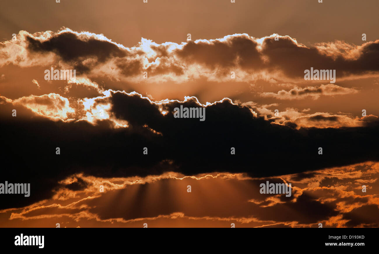 aerial photograph backlit clouds northern Nevada - Stock Image