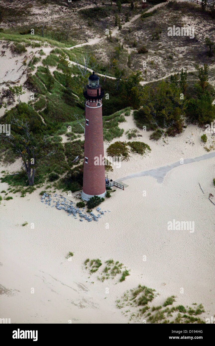 aerial photograph Little Sable Point Light lighthouse, Silver Lake State Park, Lake Michigan, Michigan - Stock Image