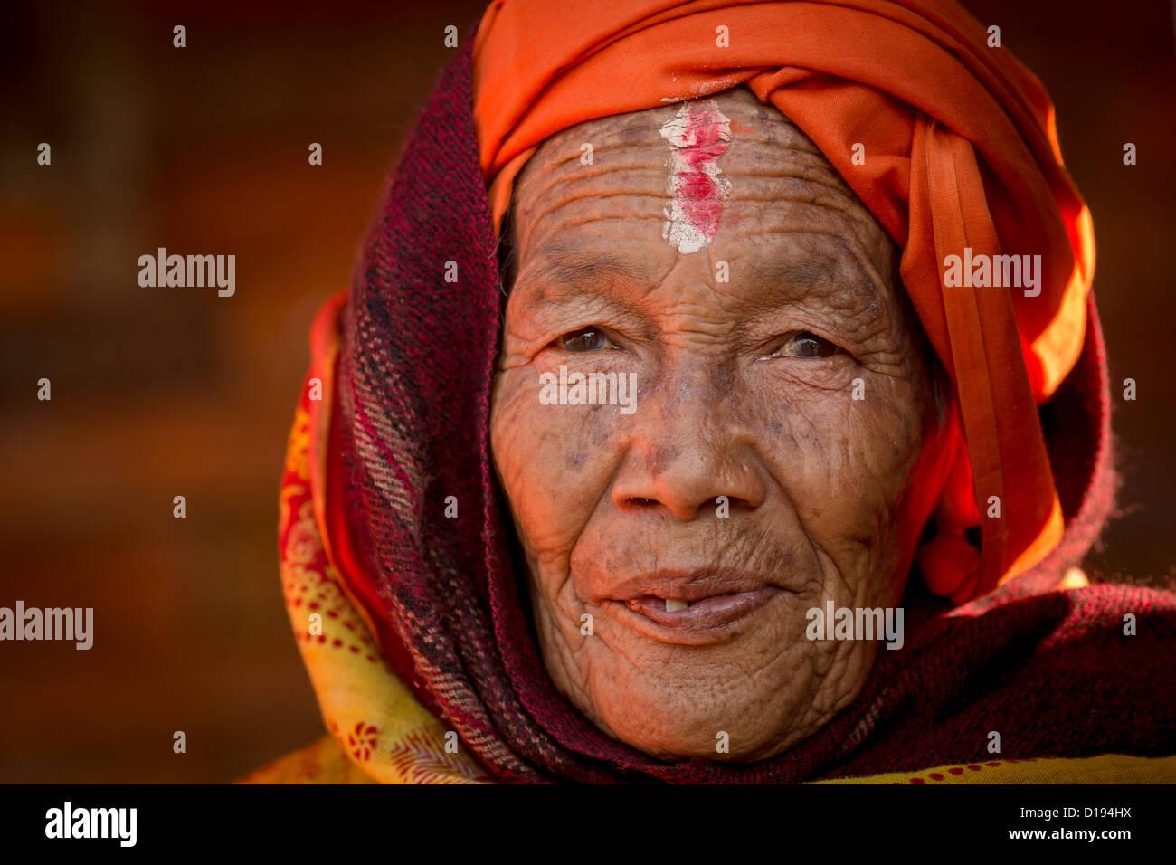 Female Sadhu, holy woman Pashupatinath, Kathmandu, Nepal - Stock Image