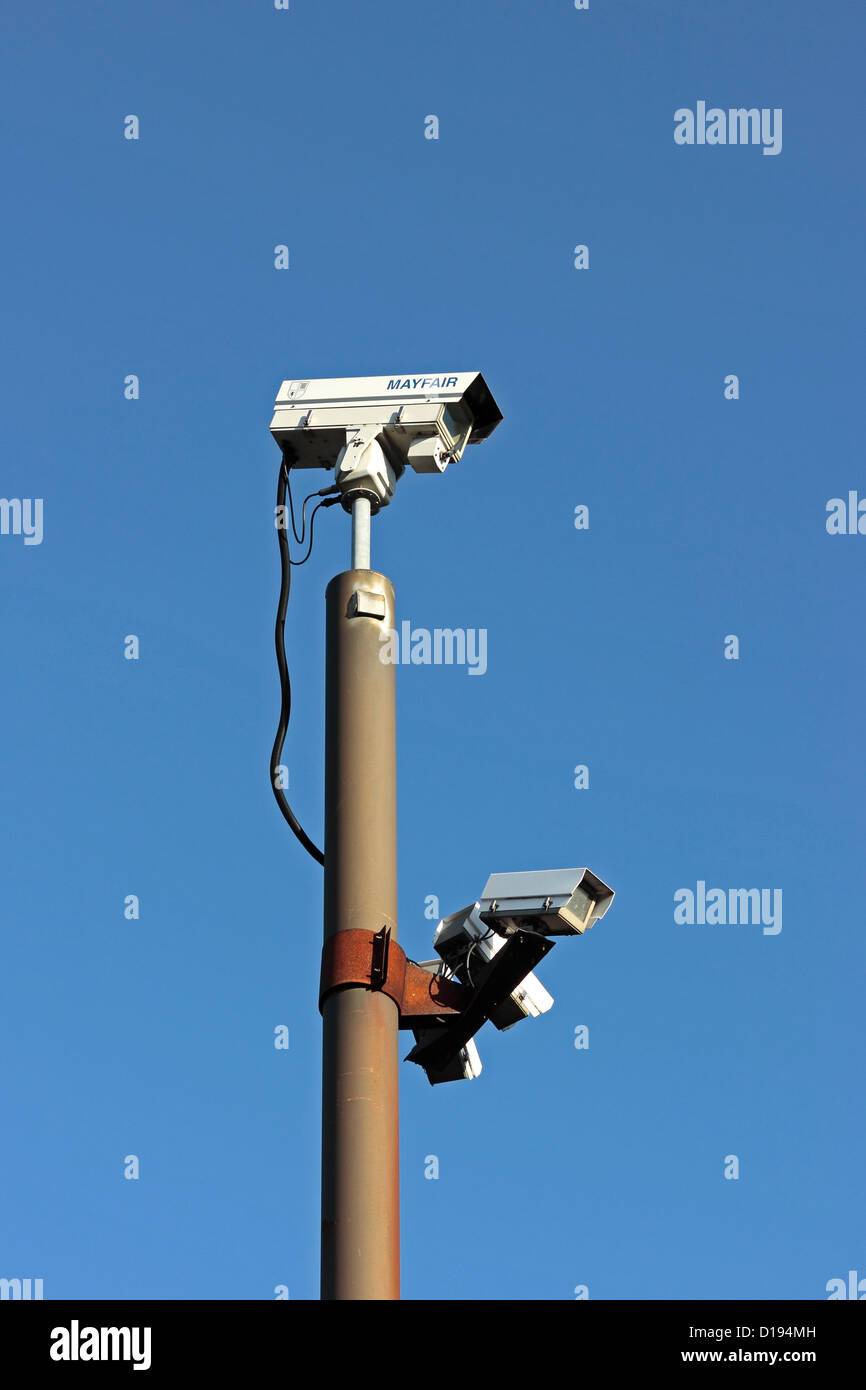 CCTV Cameras Back Micklegate Car Park Selby Stock Photo