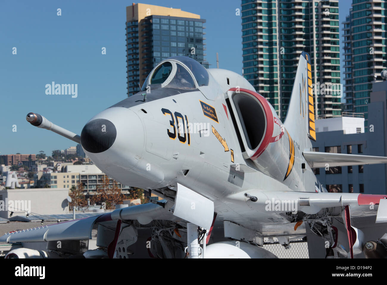 A4 Skyhawk jet fighter aboard the USS Midway in San Diego, California. Stock Photo
