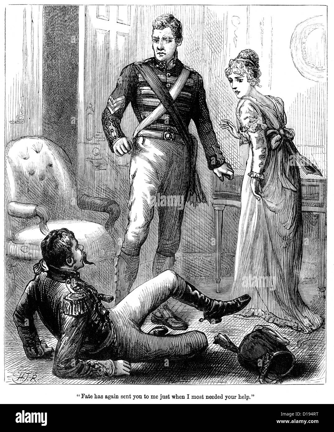 Victorian engraving of a soldier hitting a man for insulting a lady, 1897 - Stock Image