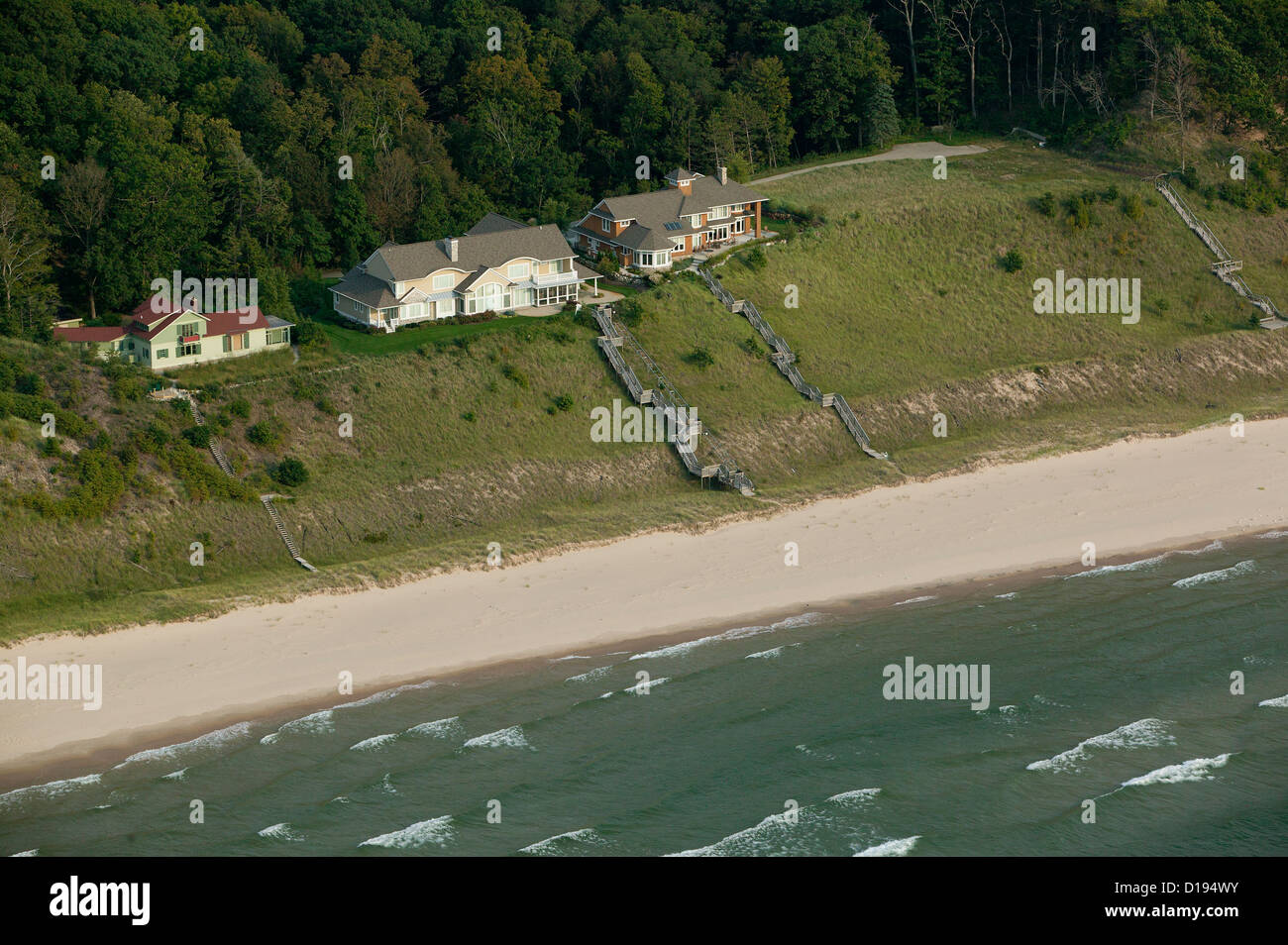 aerial photograph lakefront homes Michigan shoreline, Lake Michigan - Stock Image