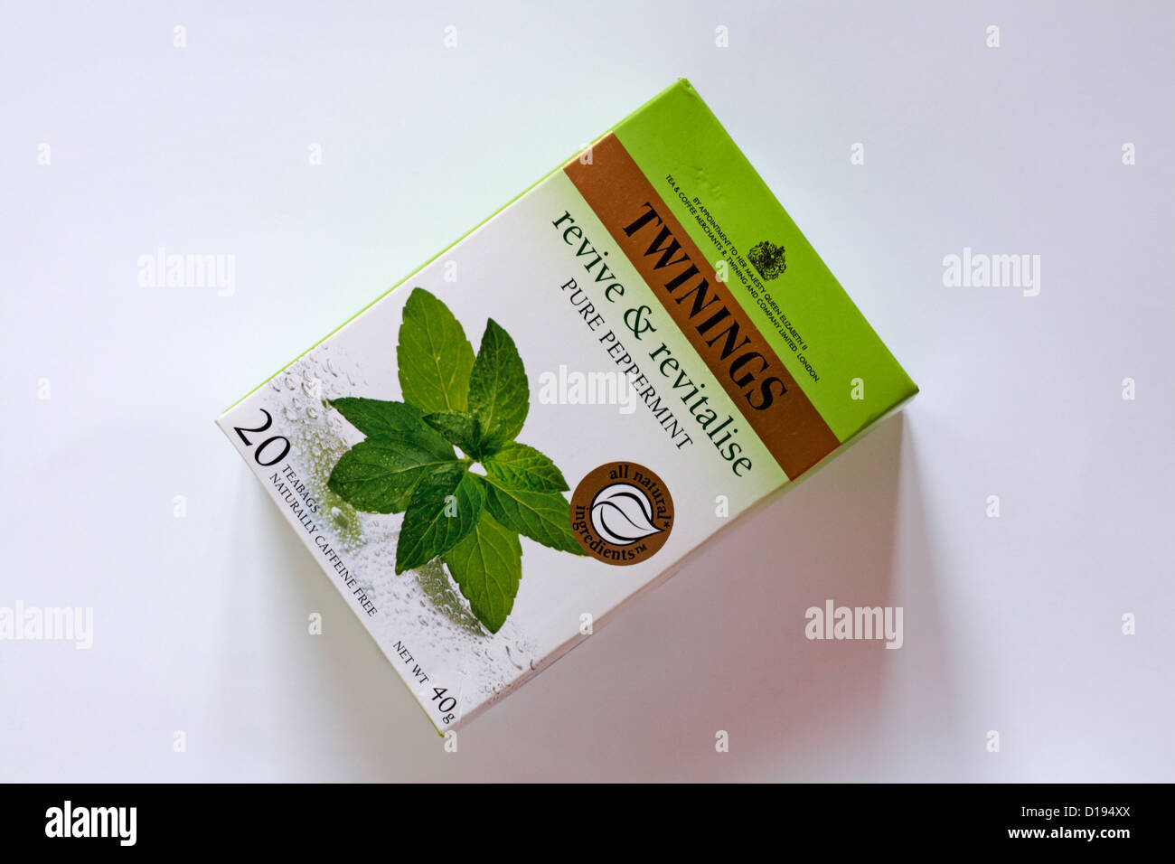 Twinings teabags tea bags - revive & revitalise pure peppermint isolated on white background - Stock Image