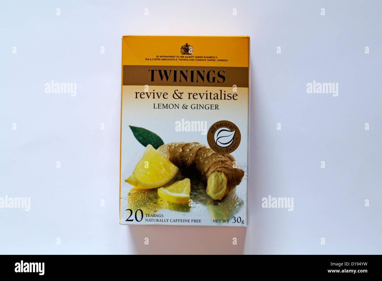 Twinings tea bags teabags - revive & revitalise lemon & ginger isolated on white background - Stock Image