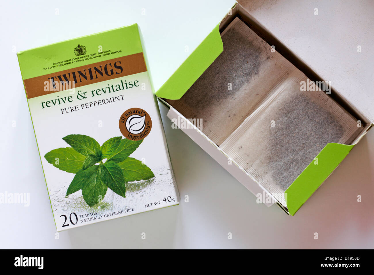 Twinings tea bags teabags - revive & revitalise pure peppermint on white background - Stock Image
