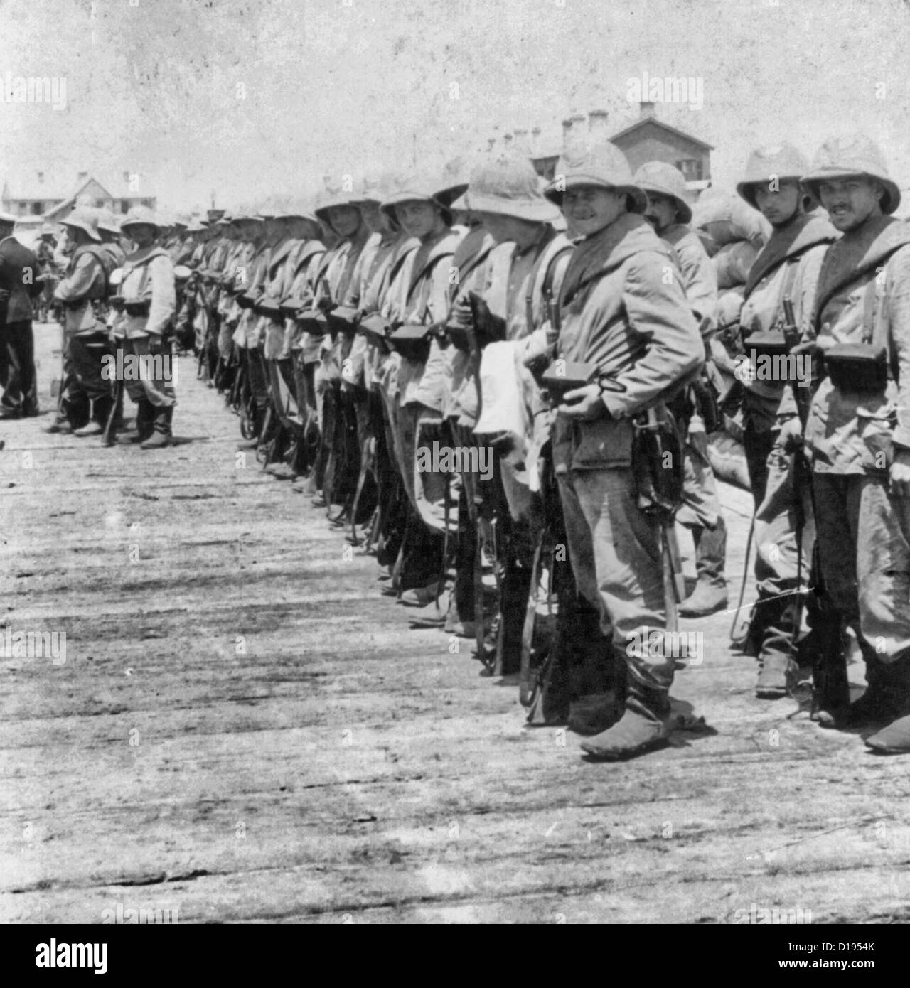 German troops on the dock at Tongu awaiting transportation to Tientsin, China, 1901 Boxer Rebellion - Stock Image
