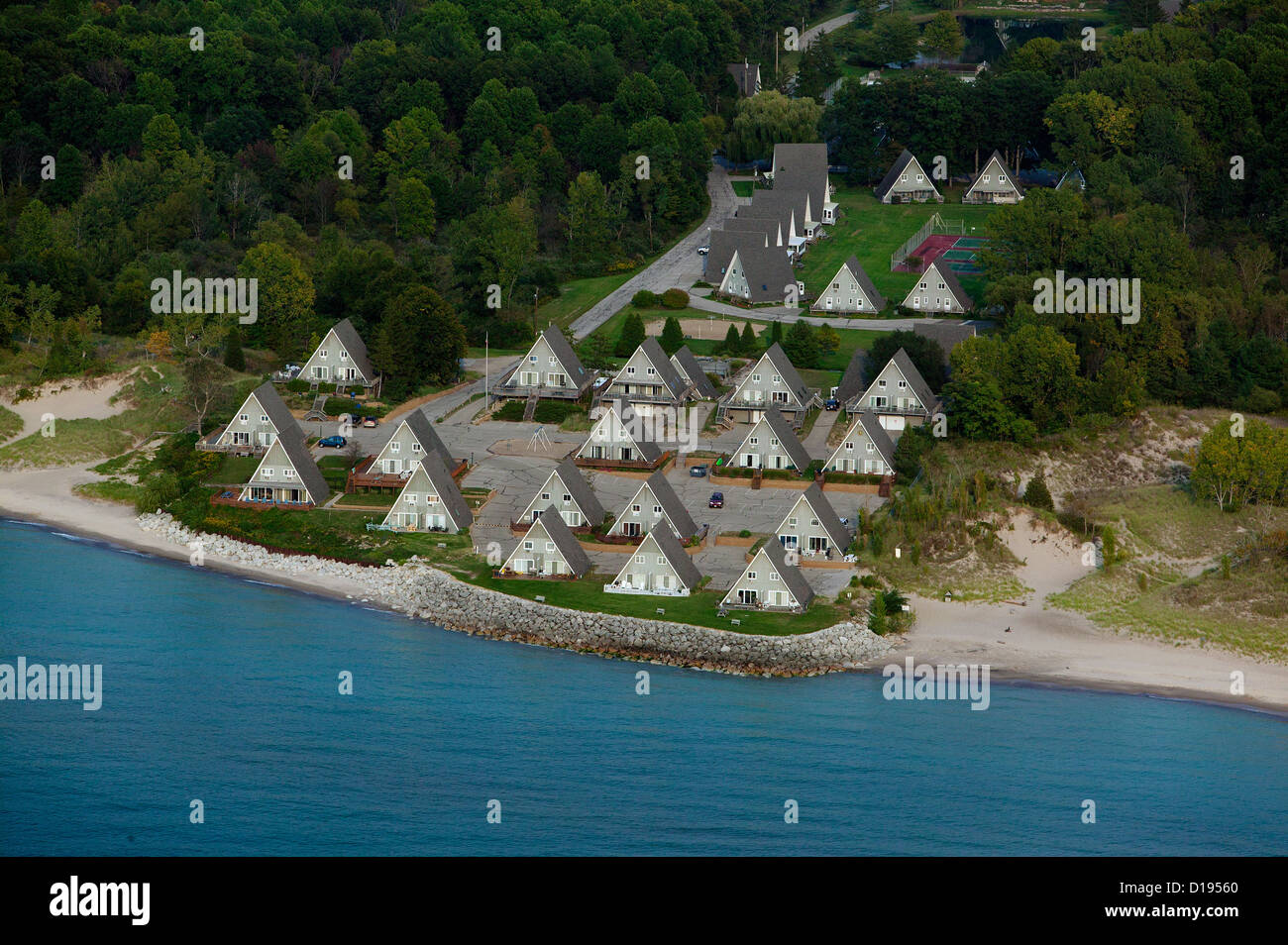 aerial photograph A frame vacation homes Lake Michigan shoreline, Stevensville, MI - Stock Image