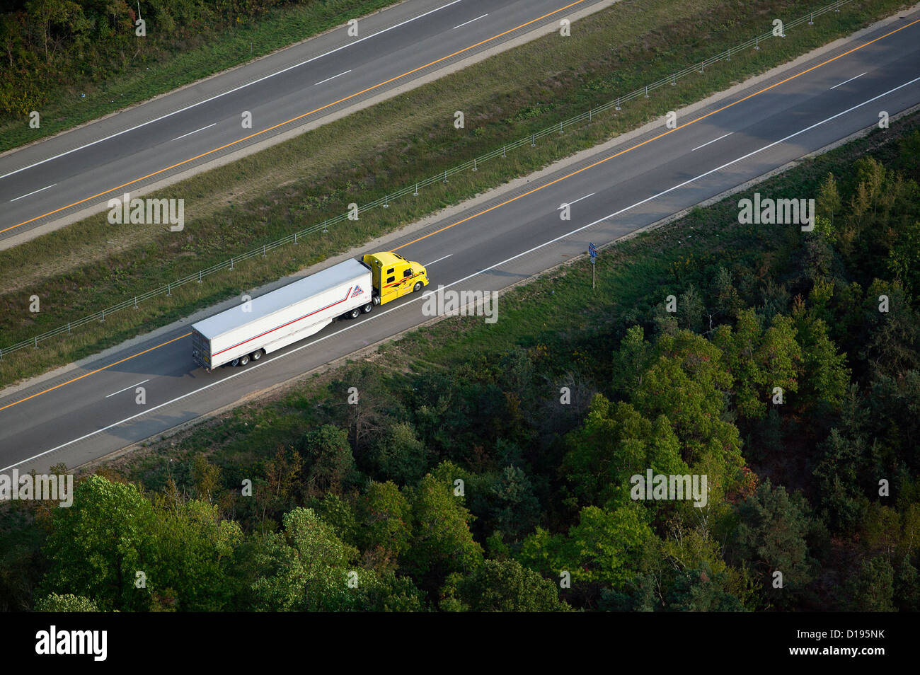 aerial photograph truck interstate I-196 near Saugutuck, Michigan - Stock Image