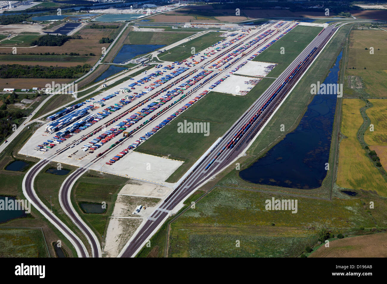 aerial photograph Union Pacific Joliet Intermodal Terminal, Joliet, Illinois - Stock Image