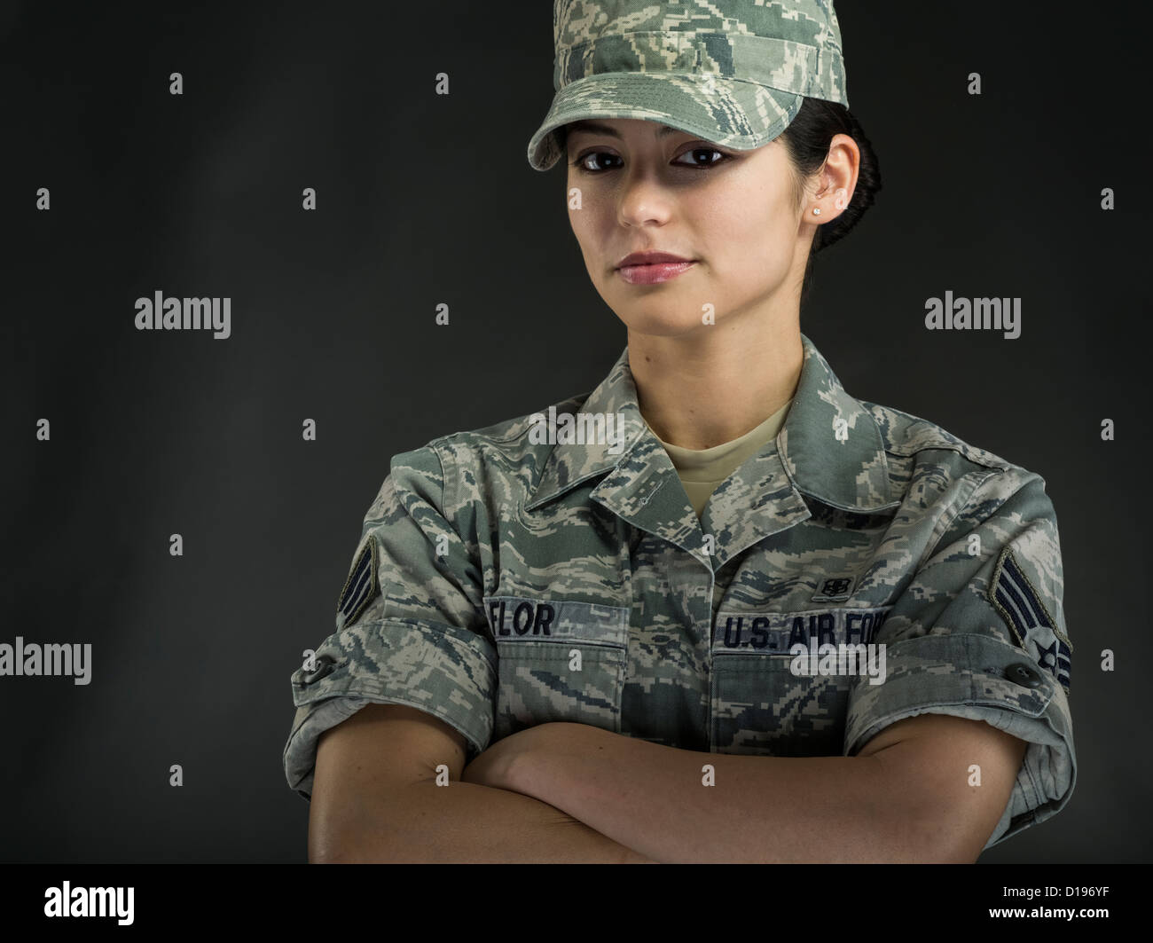 Female United States Marine Corps soldier in Combat Utility Uniform - Stock Image