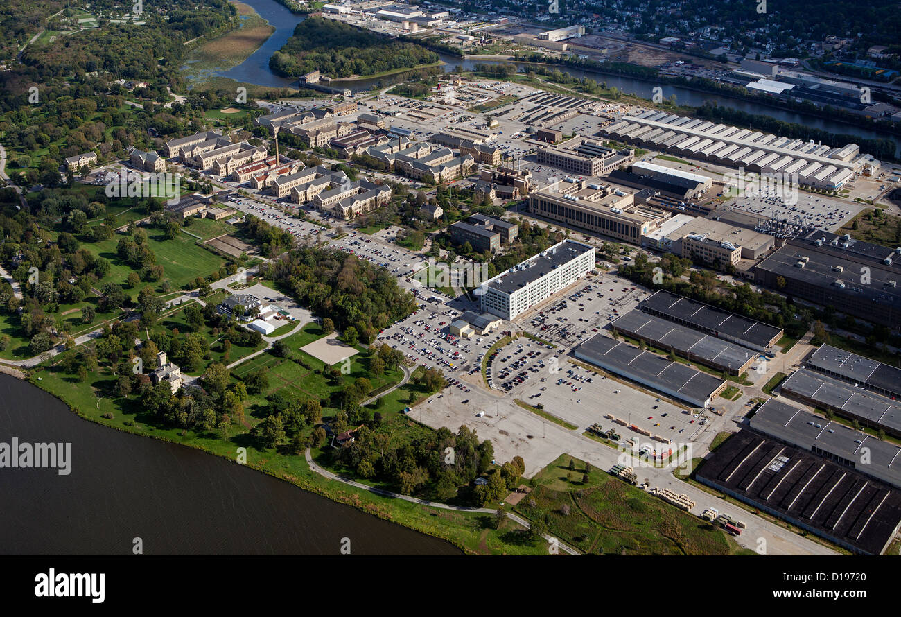 aerial photograph Rock Island Arsenal, Mississippi River, Illinois - Stock Image