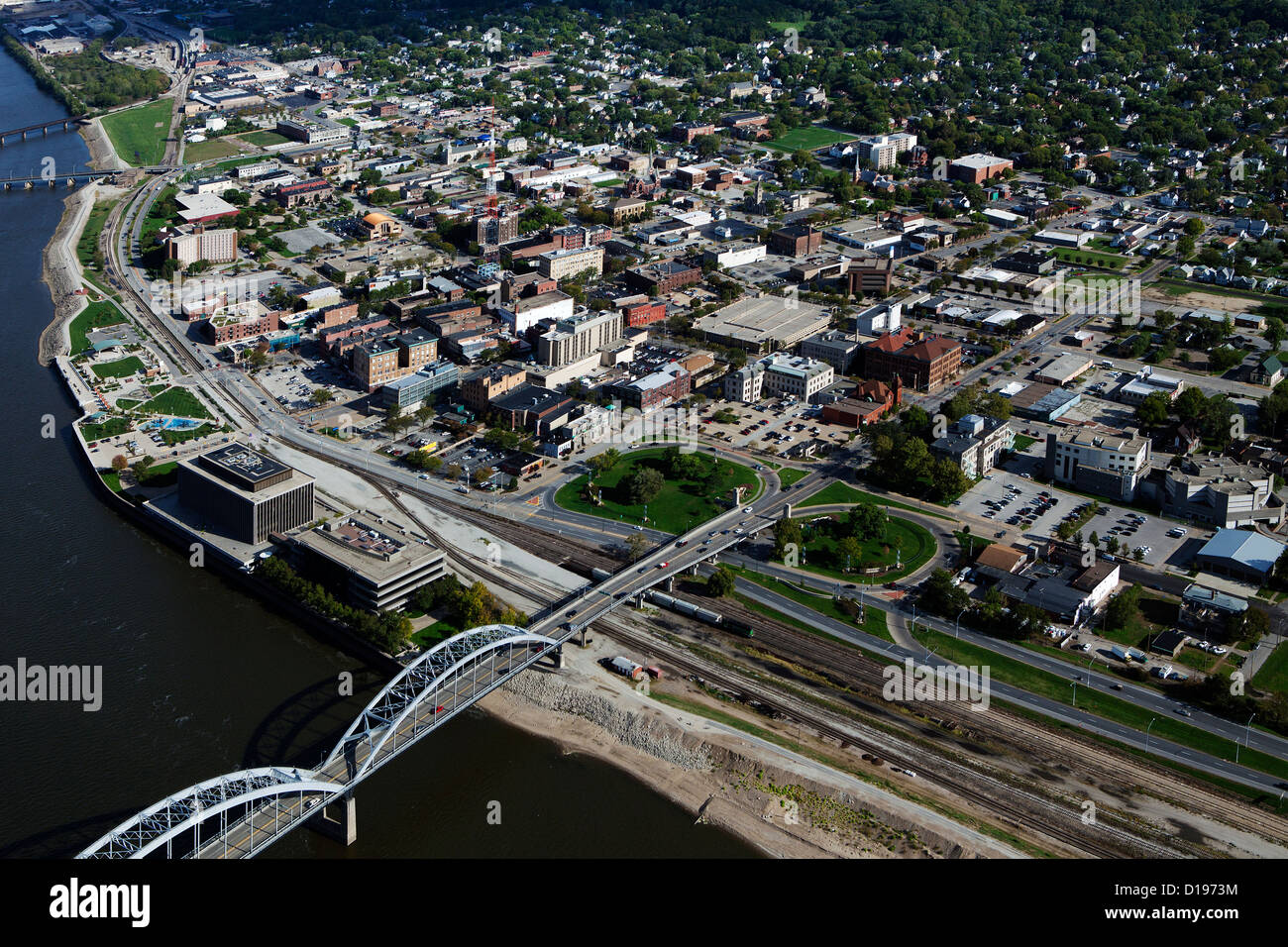 aerial photograph of Rock Island, Illinois - Stock Image
