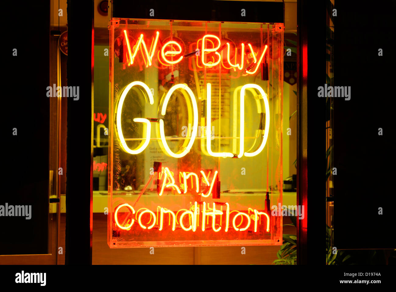 We Buy Gold Any Condition neon sign - Stock Image