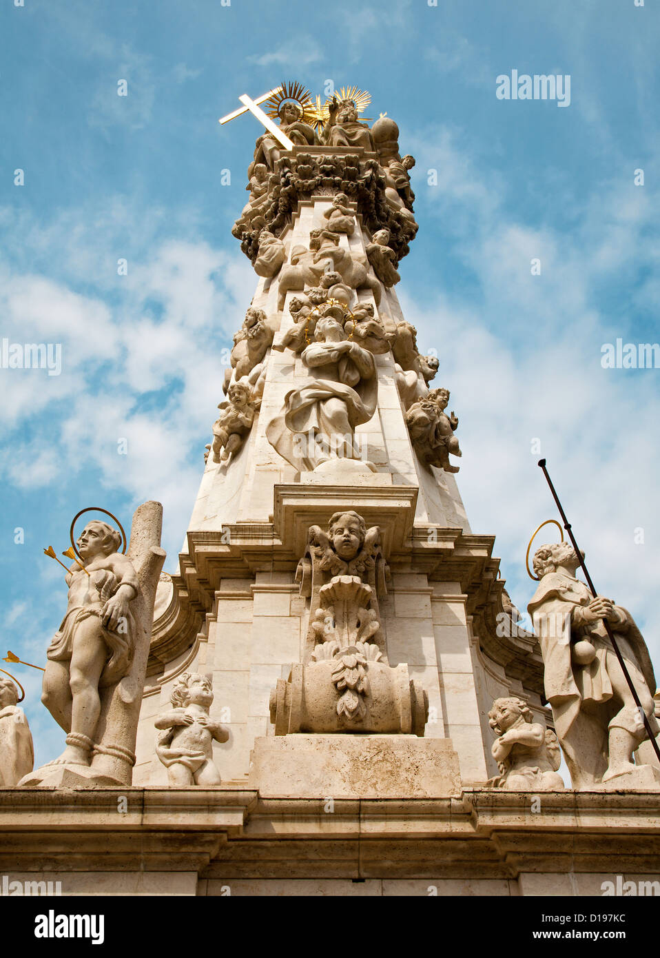 Trinity baroque column in Budapest - Stock Image