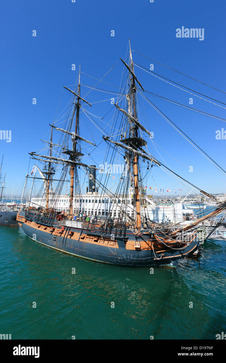 Frigate HMS Surprise sailng ship at the Maritime museum of San Diego, California, USA. Stock Photo