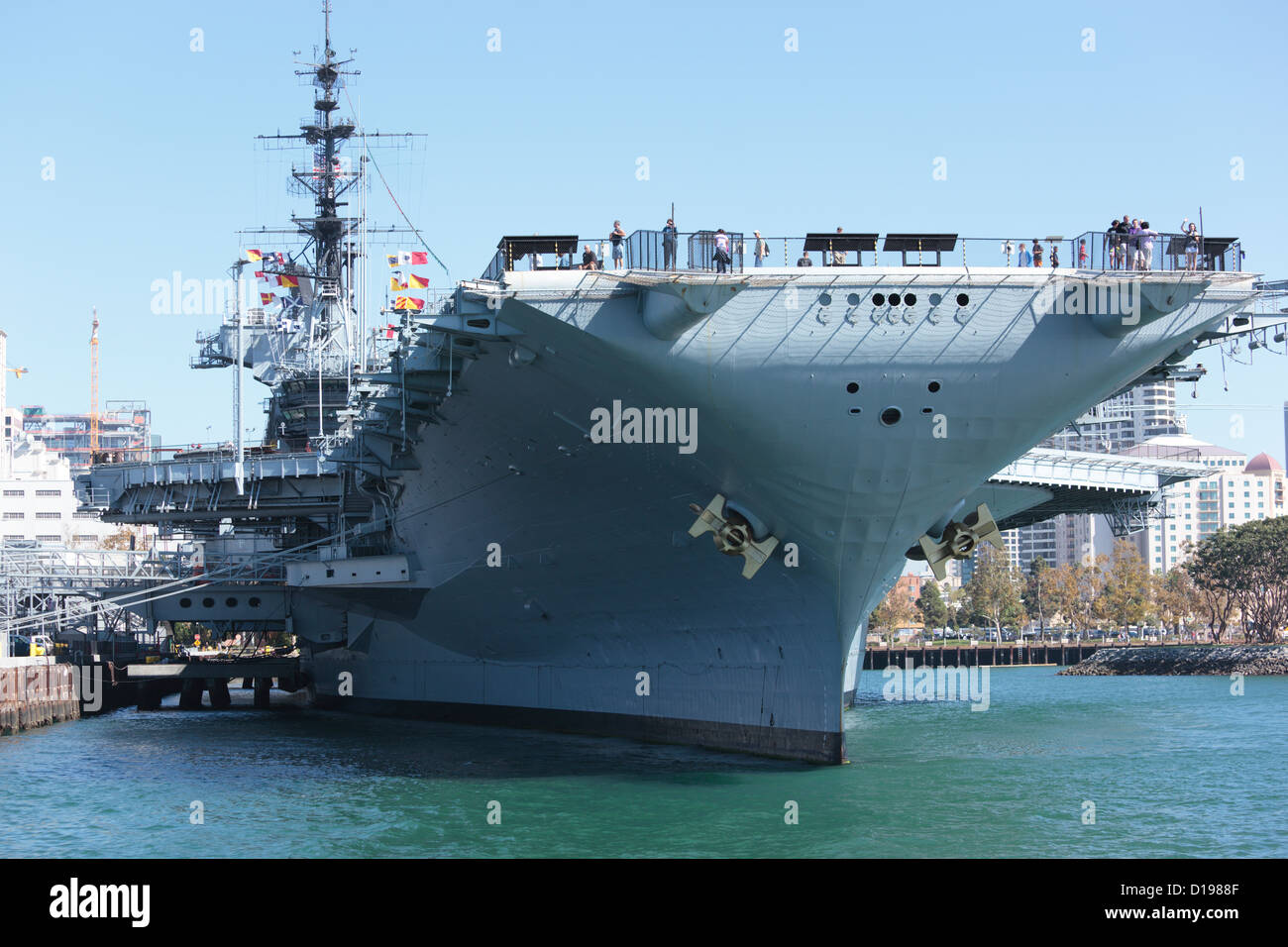 USS Midway aircraft carrier in San Diego, California, USA. - Stock Image