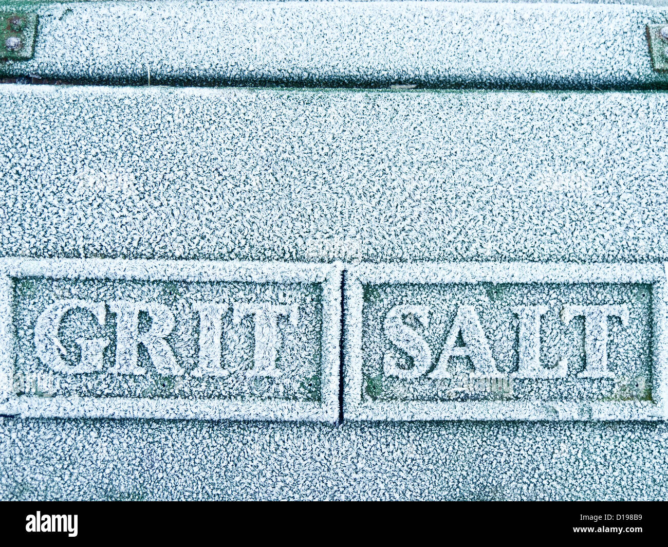 Roadside grit salt box with winter frost. - Stock Image