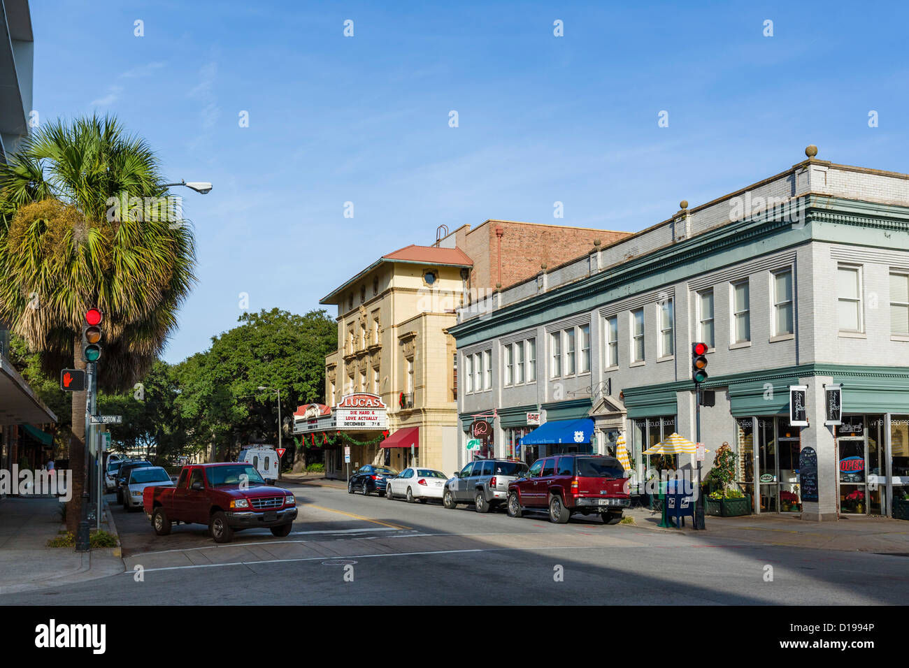 Abercorn Street at the intersection with East Broughton Street in historic downtown Savannah, Georgia, USA - Stock Image