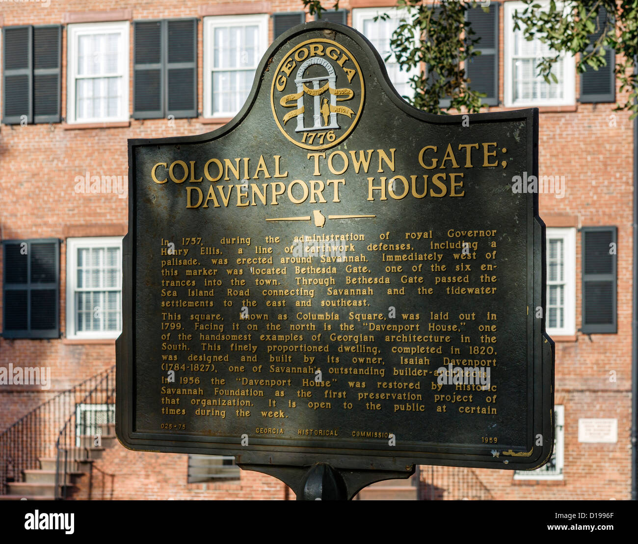 Plaque in front of the historic Isiah Davenport House on East State Street, Columbia Square, Savannah, Georgia, - Stock Image