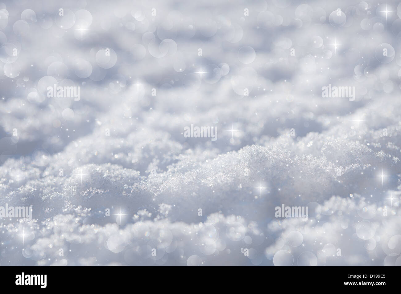 effective blue snow background, very tiny focus - Stock Image