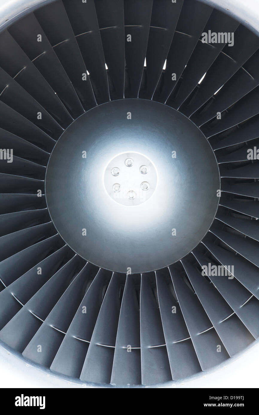 The turbine of a jet engine on a small passenger airplane - Stock Image