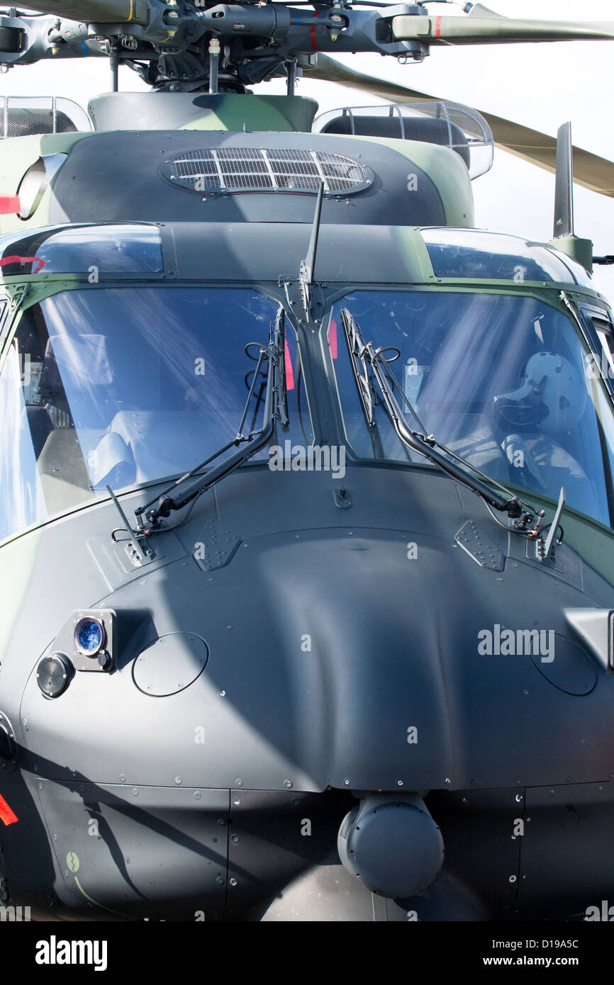 Closeup of the military helicopter cabin. - Stock Image