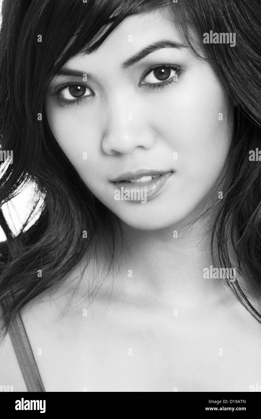 Close up of a beautiful asian woman black and white photograph