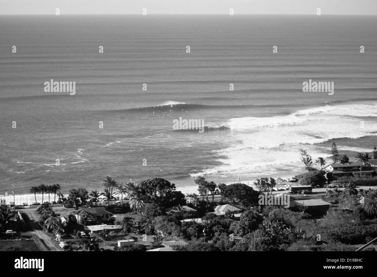 Hawaii Oahu North Shore Sunset Beach Aerial View Of Community And Shorebreak