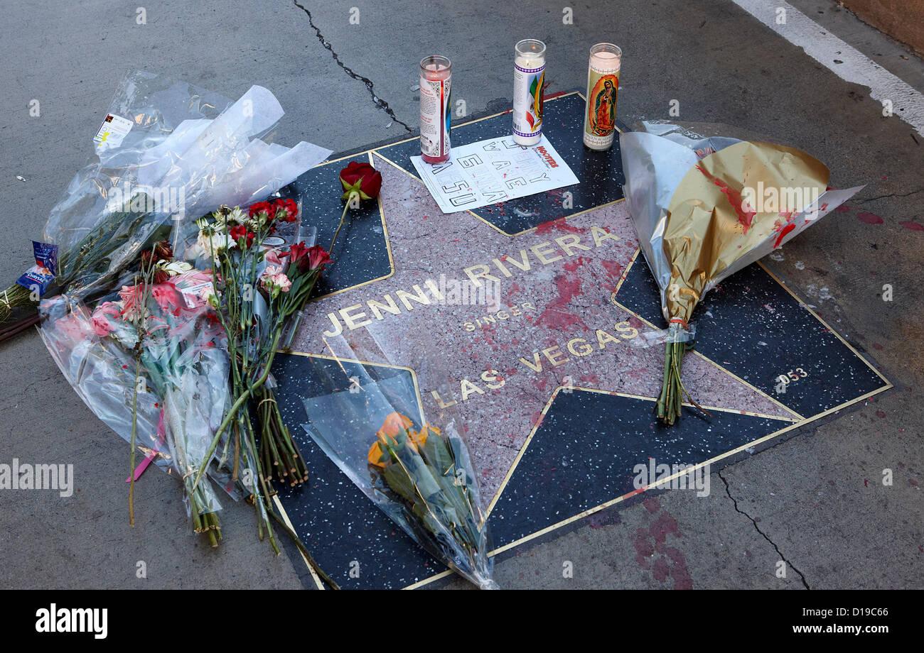Tributes left to singer Jenni Rivera on her star on the Las Vegas Walk of Stars, Las Vegas Blvd, Las Vegas,  Nevada, Stock Photo