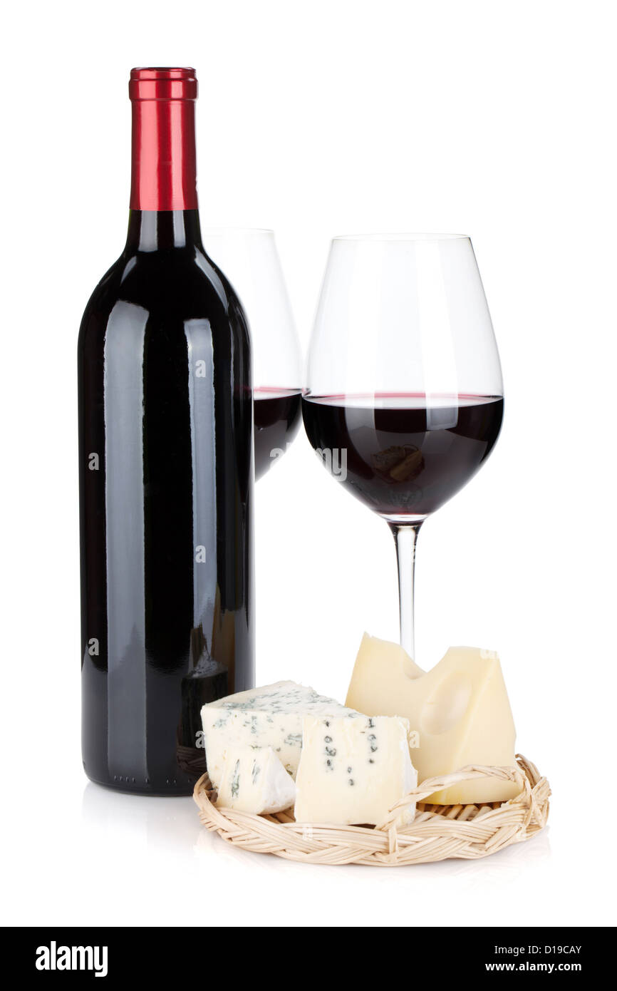 Various types of cheeses and red wine. Isolated on white background Stock Photo