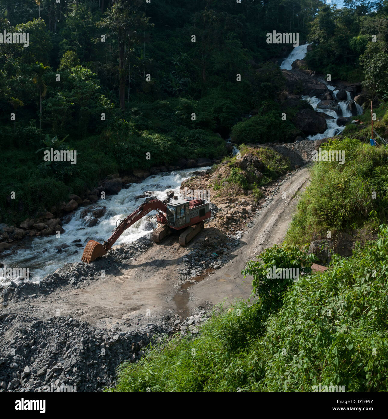 JCB digger making roads through forest river banks - Stock Image