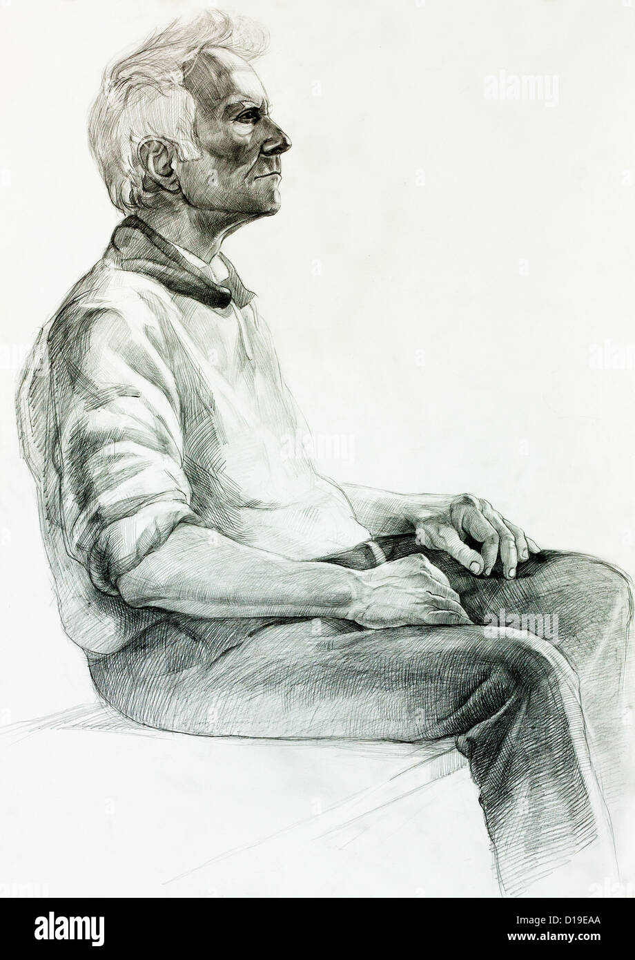 Original pencil or drawing charcoal and hand drawn painting or working sketch of a man sitting free composition