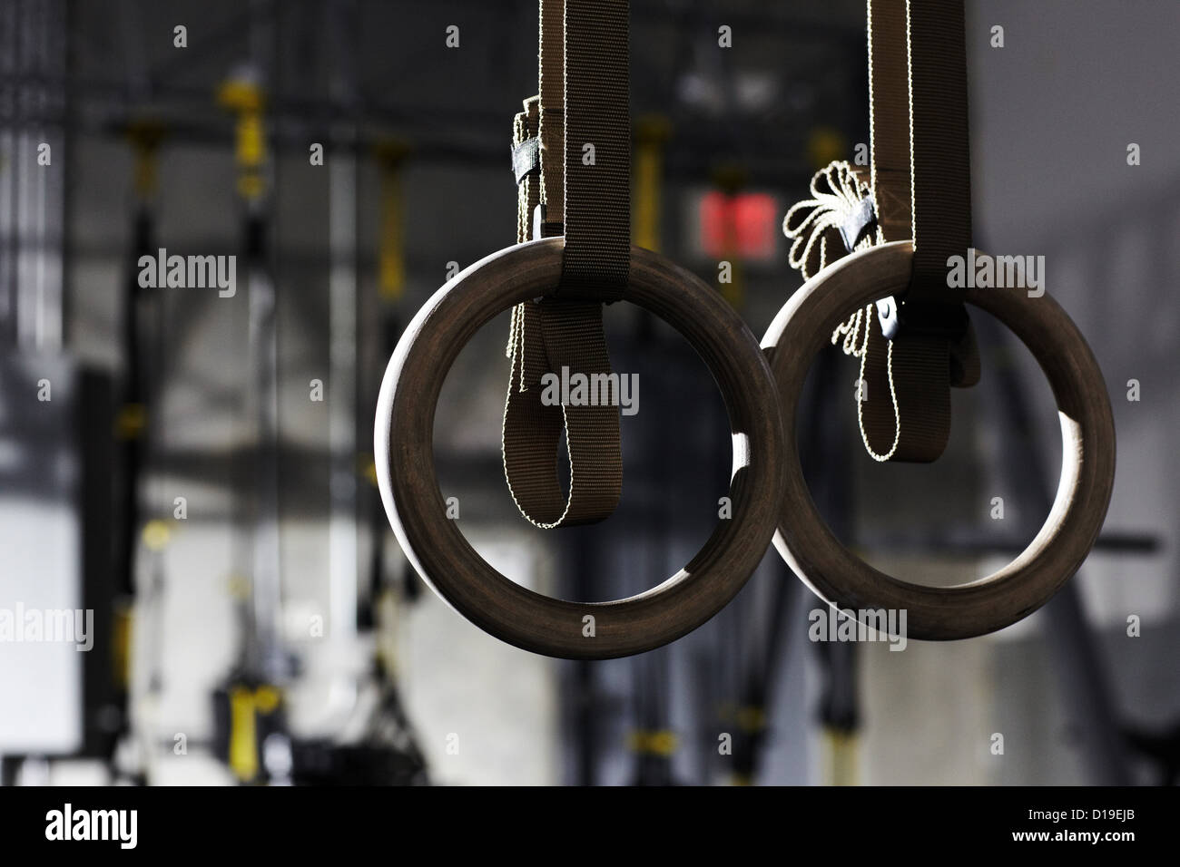 Gymnastic rings in gym - Stock Image