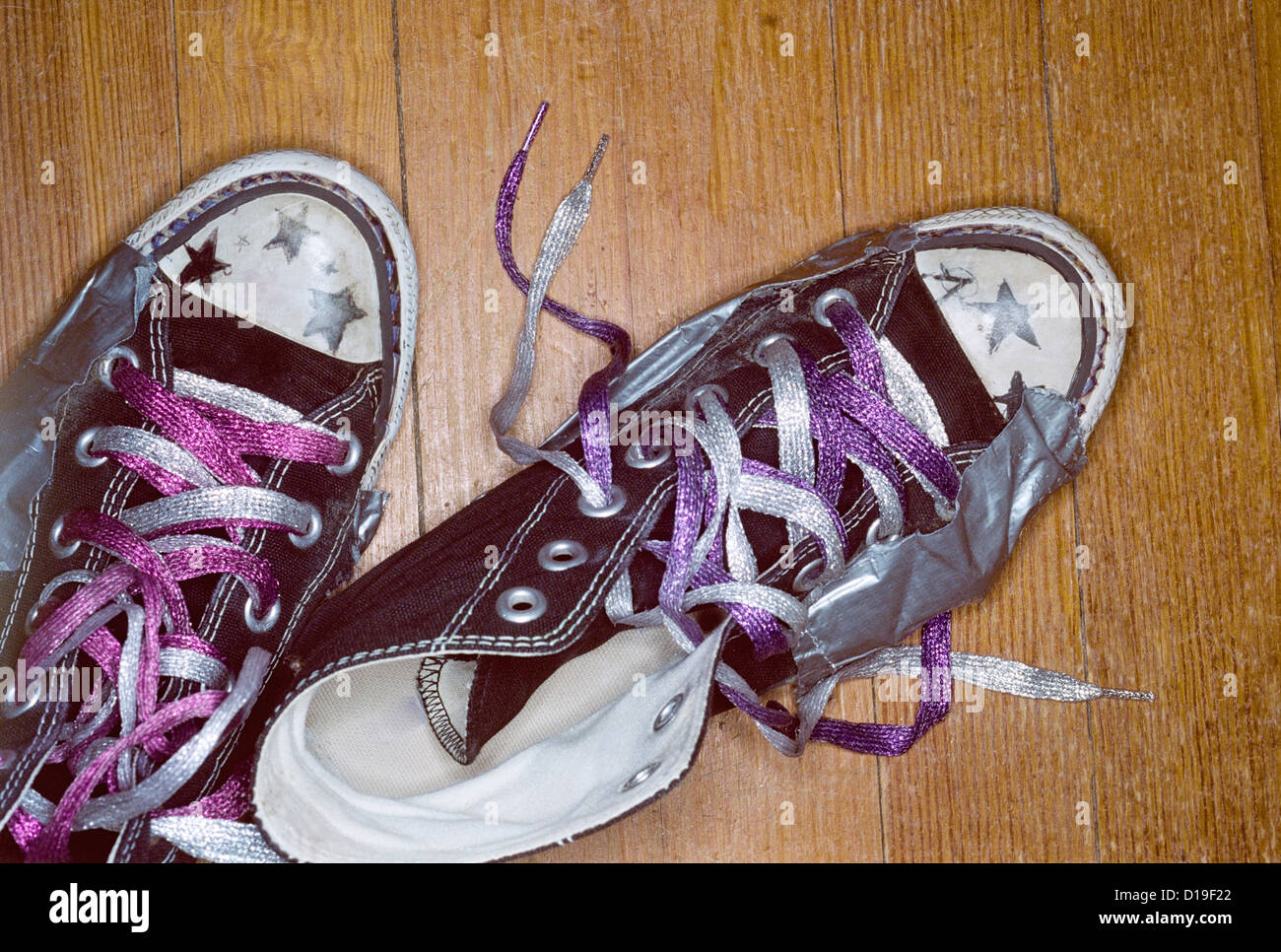 Girl's shoes with metallic laces - Stock Image