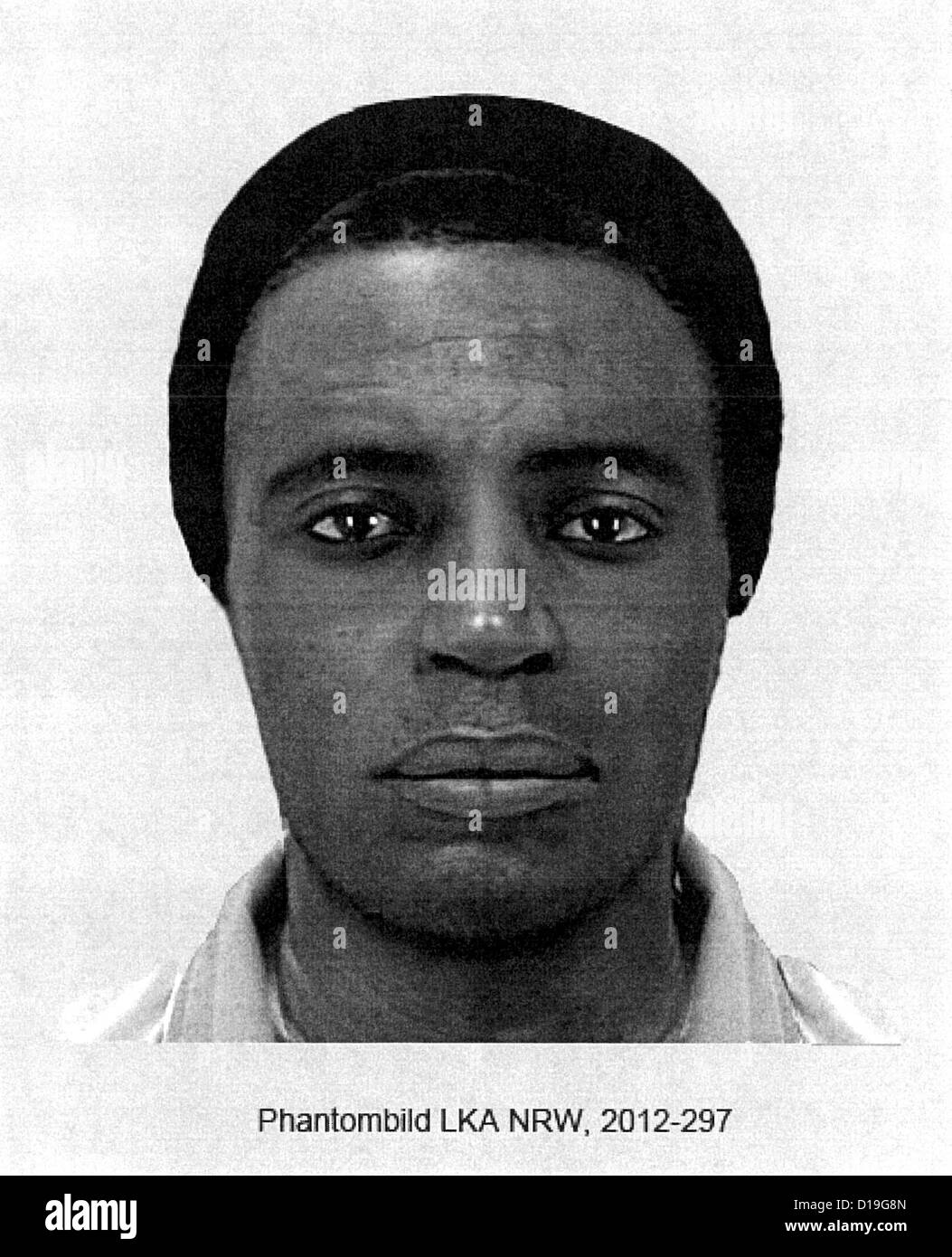 (HANDOUT) A handout from the Cologne Police shows the facial composite of a man sought by the police in connection - Stock Image