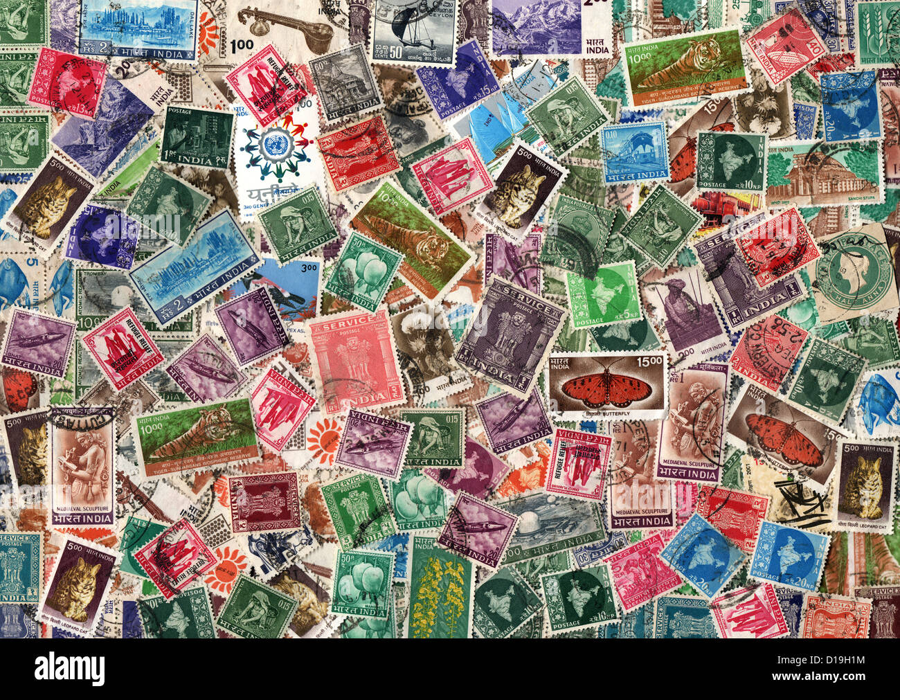 background of old used indian postage stamps stock photo 52456704