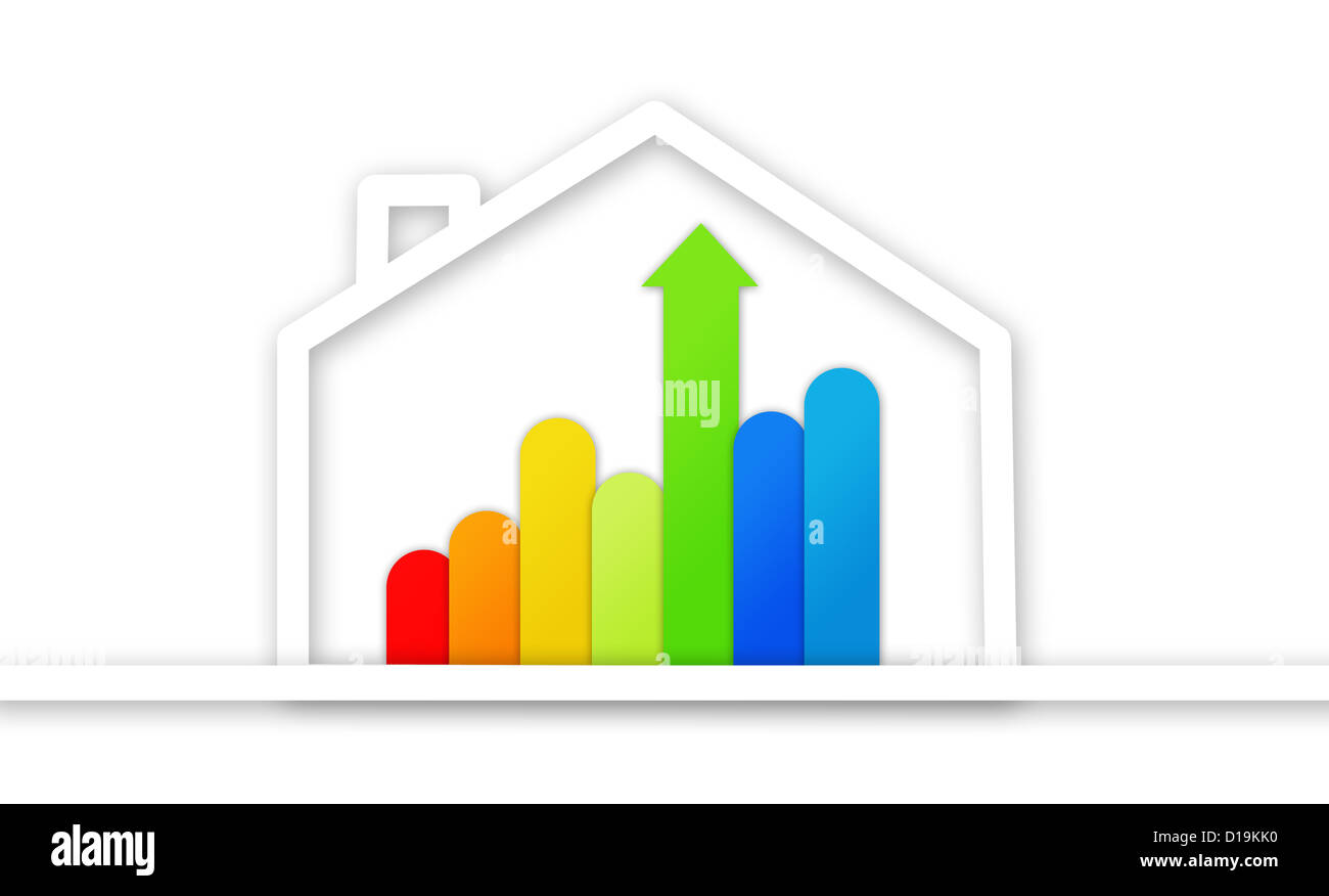 Graphical presentation of energy efficient house Stock Photo