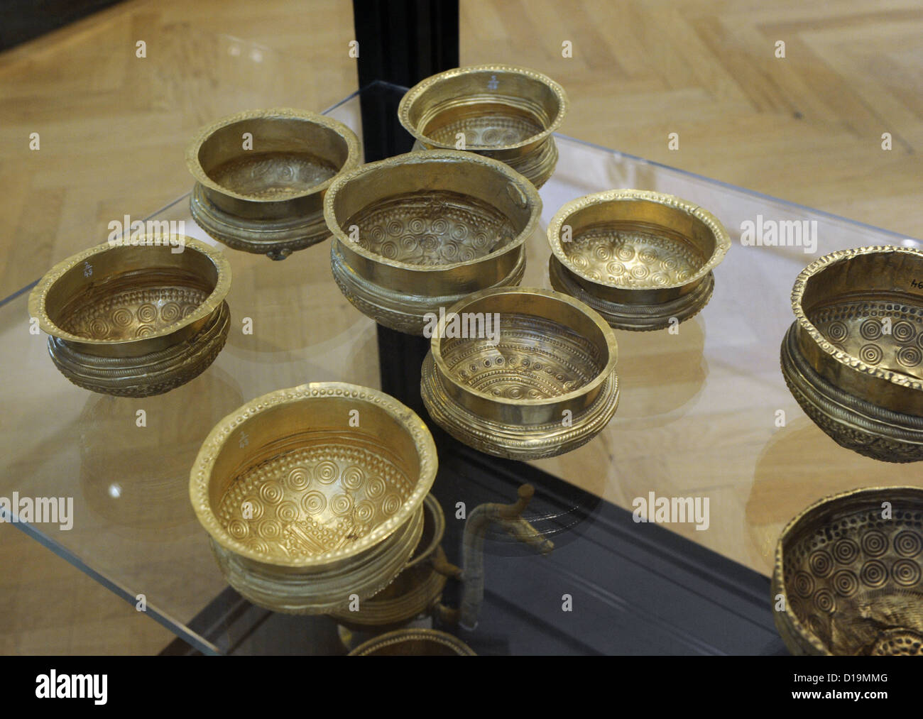 Prehistory. Metal Age. Northern Europe. Golden vessels. Decorated with geometric patterns. The Late Bronze Age. - Stock Image