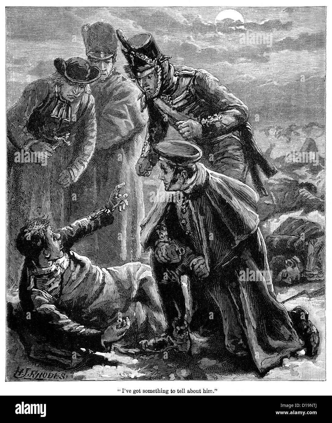 Victorian engraving of a wounded soldier from the Napoleonic Wars being given the last rites - Stock Image
